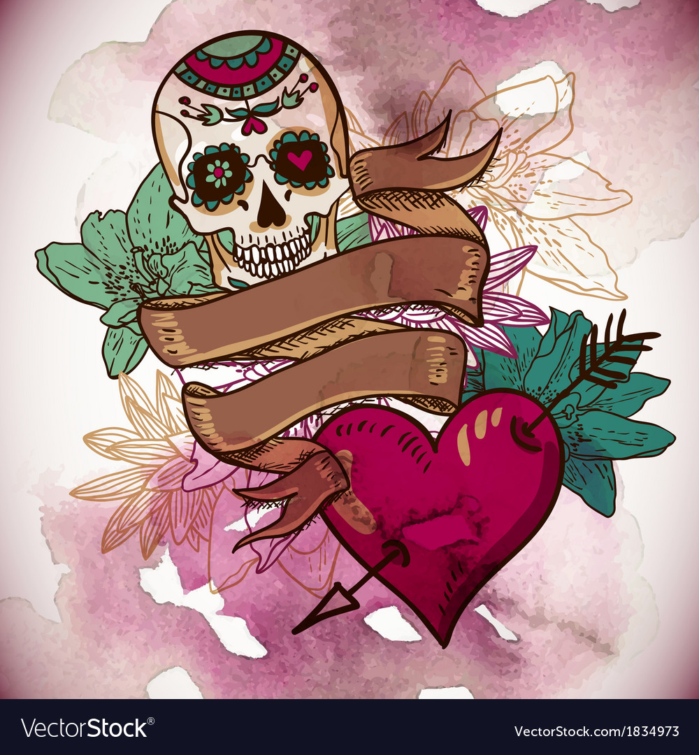 Skull hearts and flowers vector | Price: 1 Credit (USD $1)