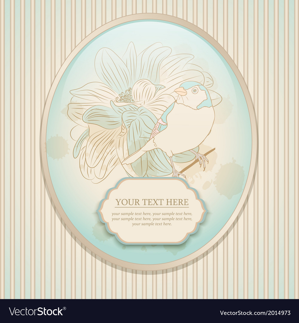 Vintage card with a bird vector | Price: 1 Credit (USD $1)