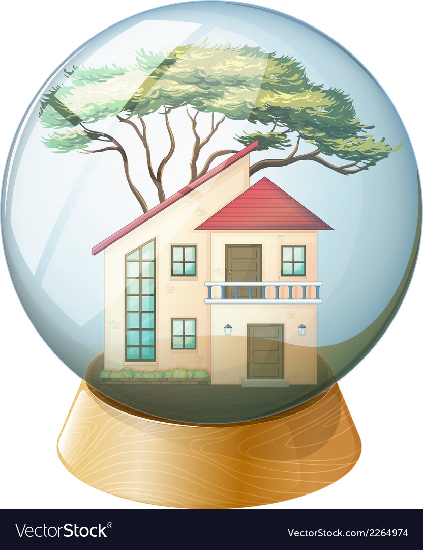 A cute crystal ball with a big house inside vector   Price: 1 Credit (USD $1)