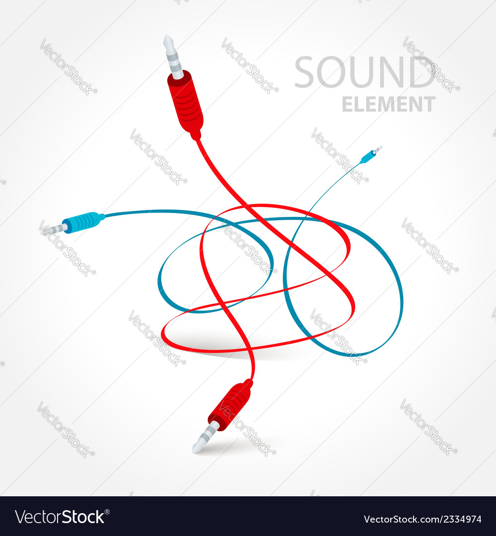 Cable connector curve bend red blue color vector | Price: 1 Credit (USD $1)