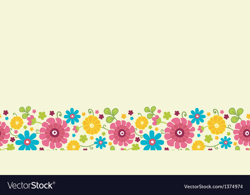 Colorful kimono flowers horizontal seamless vector | Price: 1 Credit (USD $1)