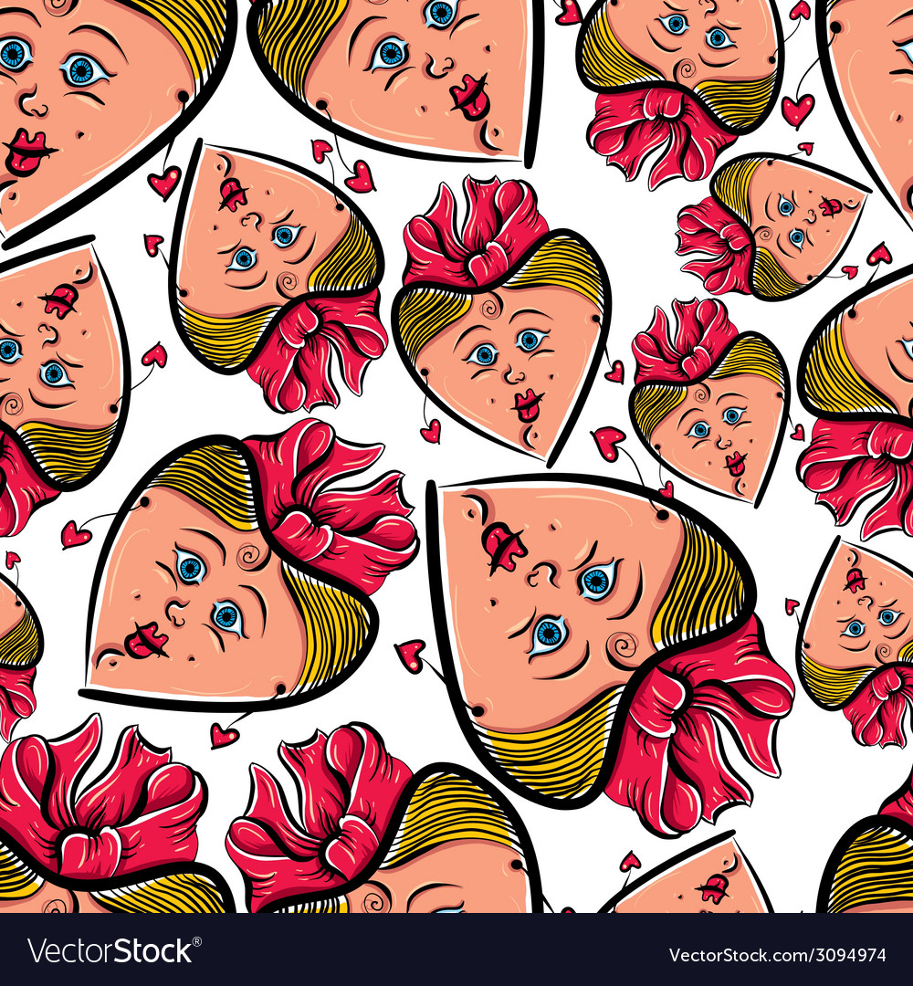 Funny faces seamless background cartoon style vector | Price: 1 Credit (USD $1)