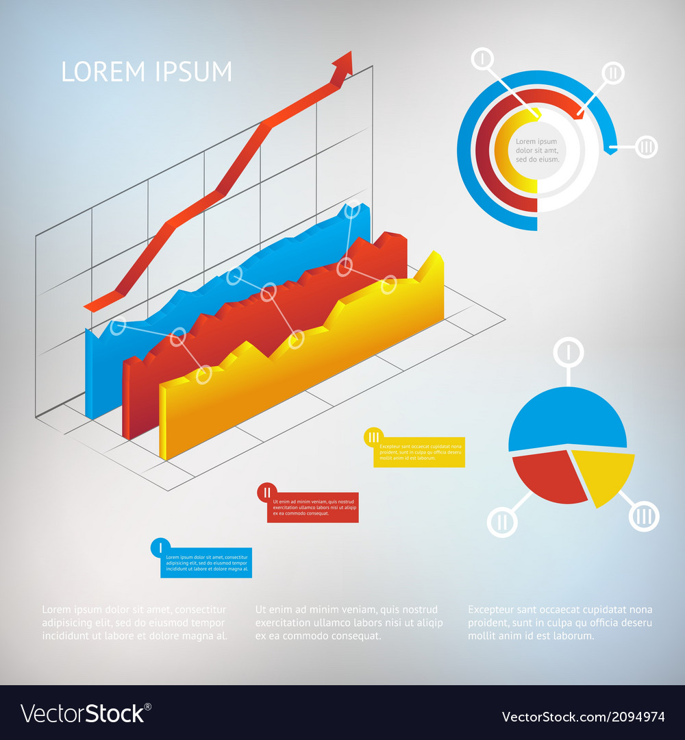 Graph infographic element vector | Price: 1 Credit (USD $1)