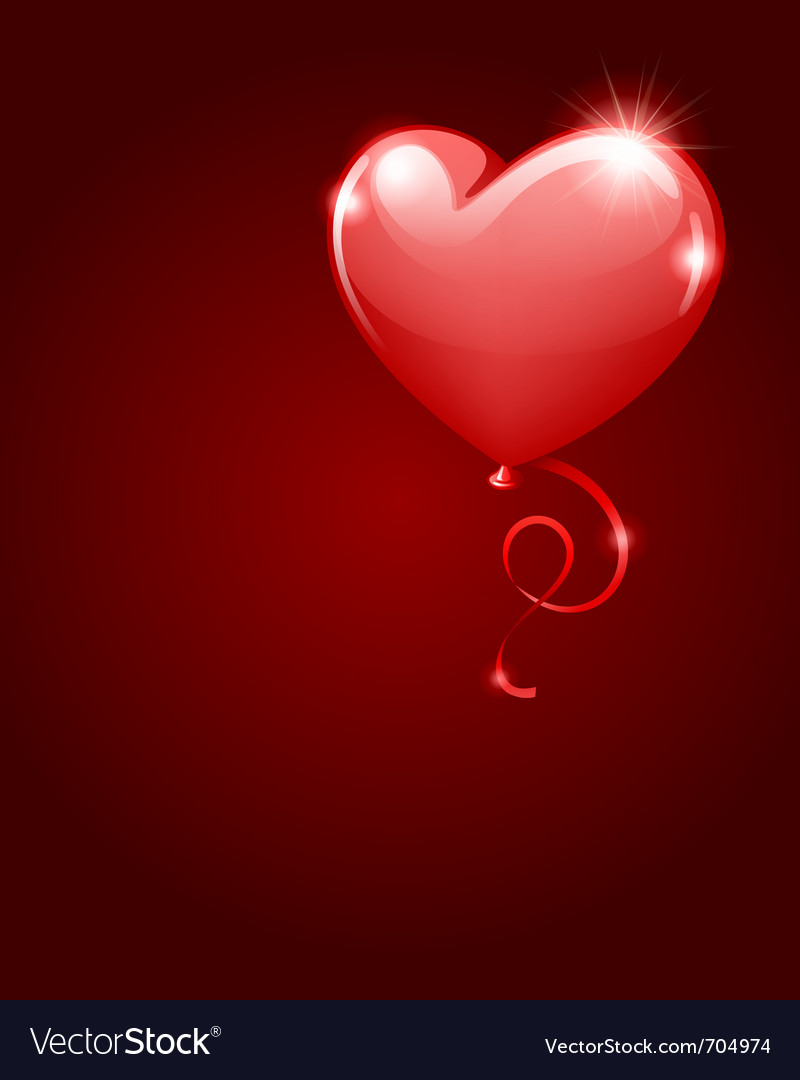 Heart as balloon with ribbon vector | Price: 1 Credit (USD $1)