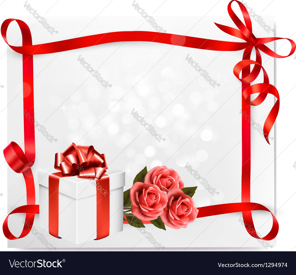 Holiday background with pink roses and gift box vector | Price: 1 Credit (USD $1)