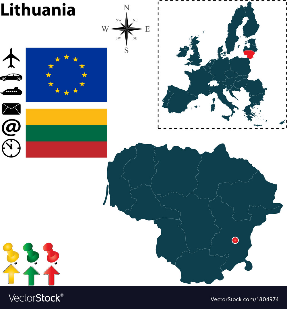Lithuania and european union map vector | Price: 1 Credit (USD $1)