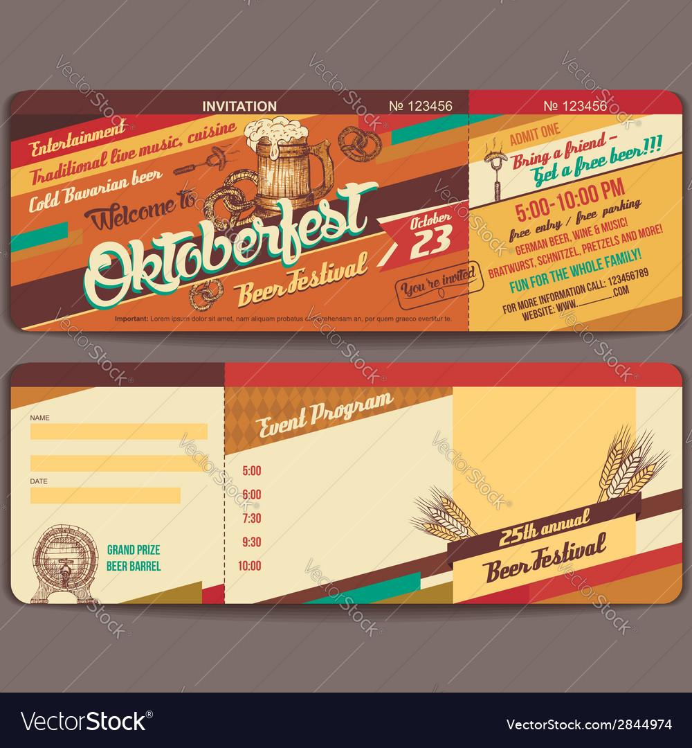 Oktoberfest vintage invitation card vector | Price: 1 Credit (USD $1)