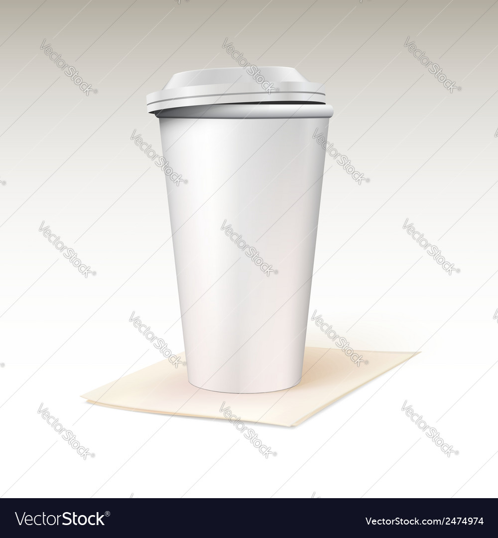 Paper cup for coffee standing on a napkin vector | Price: 1 Credit (USD $1)