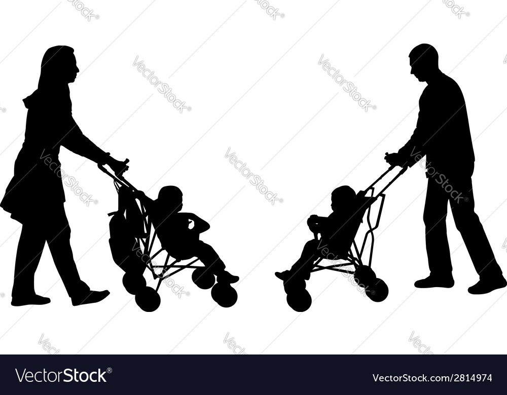 Parents pushing strollers vector | Price: 1 Credit (USD $1)