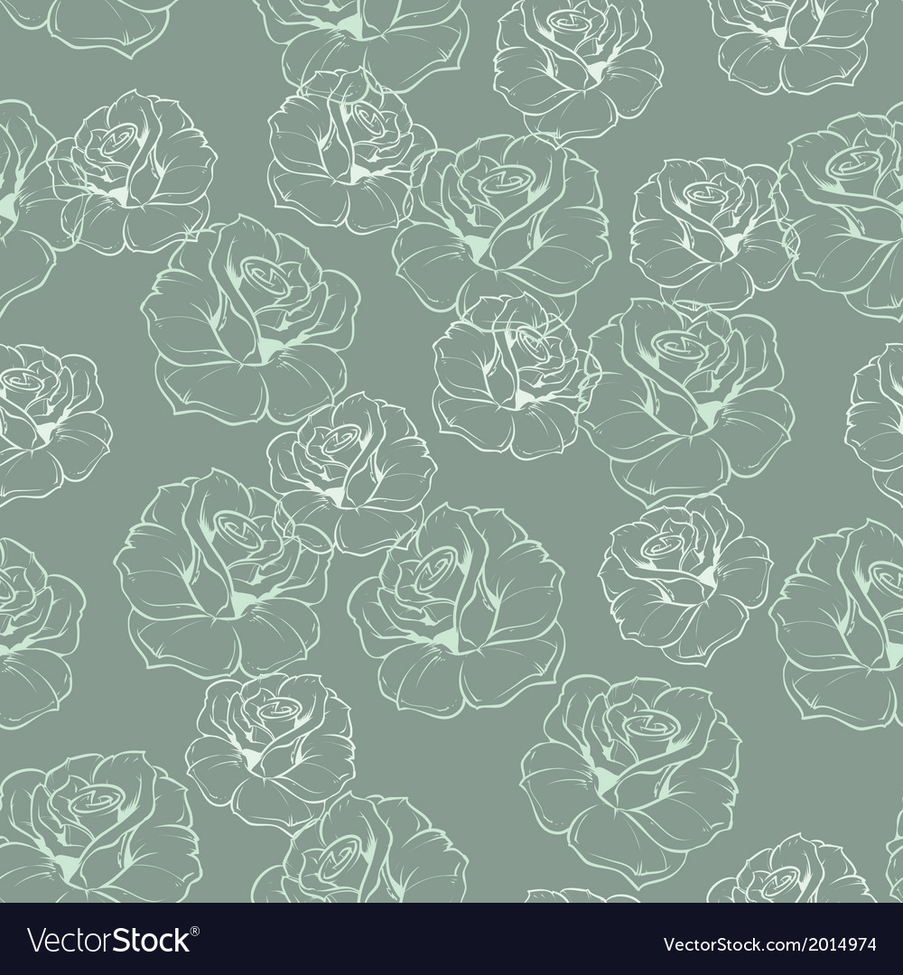 Seamless mint green retro floral pattern with rose vector | Price: 1 Credit (USD $1)