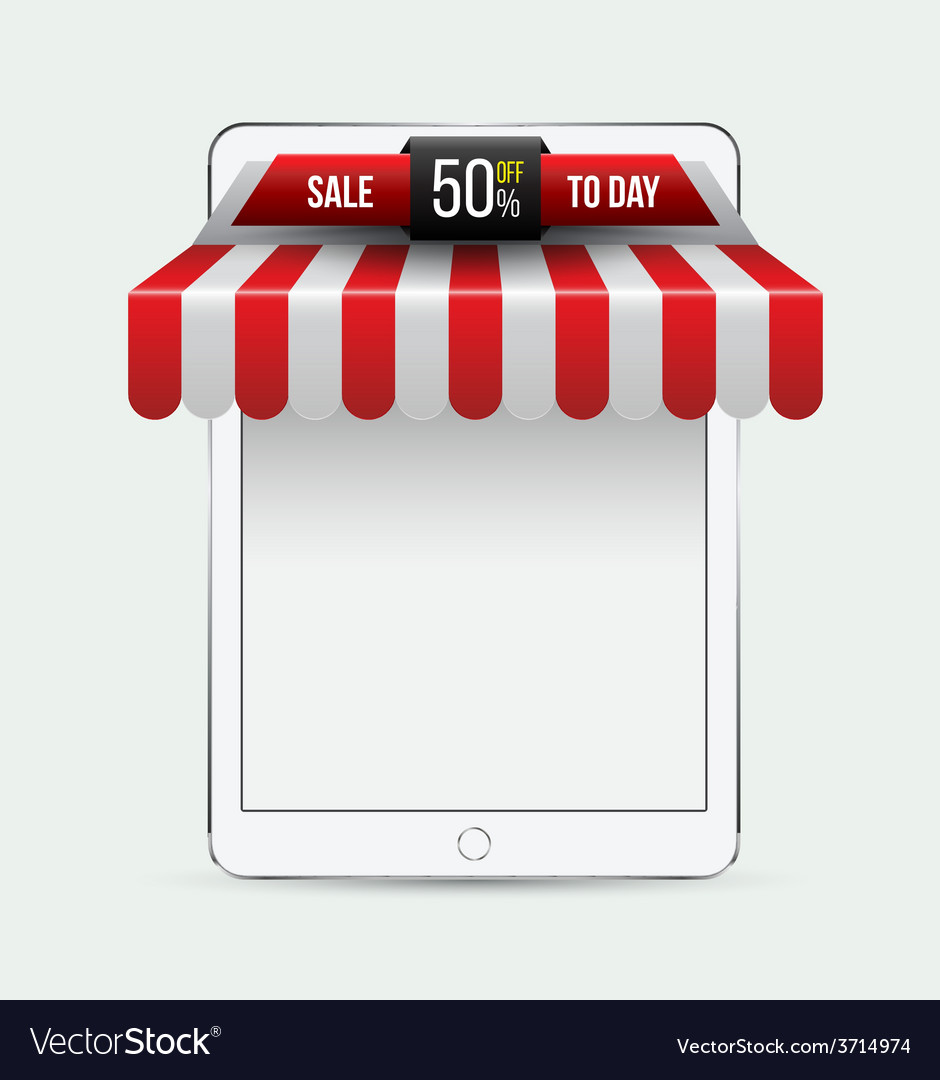 Tablet with awning mobile store concept vector | Price: 1 Credit (USD $1)