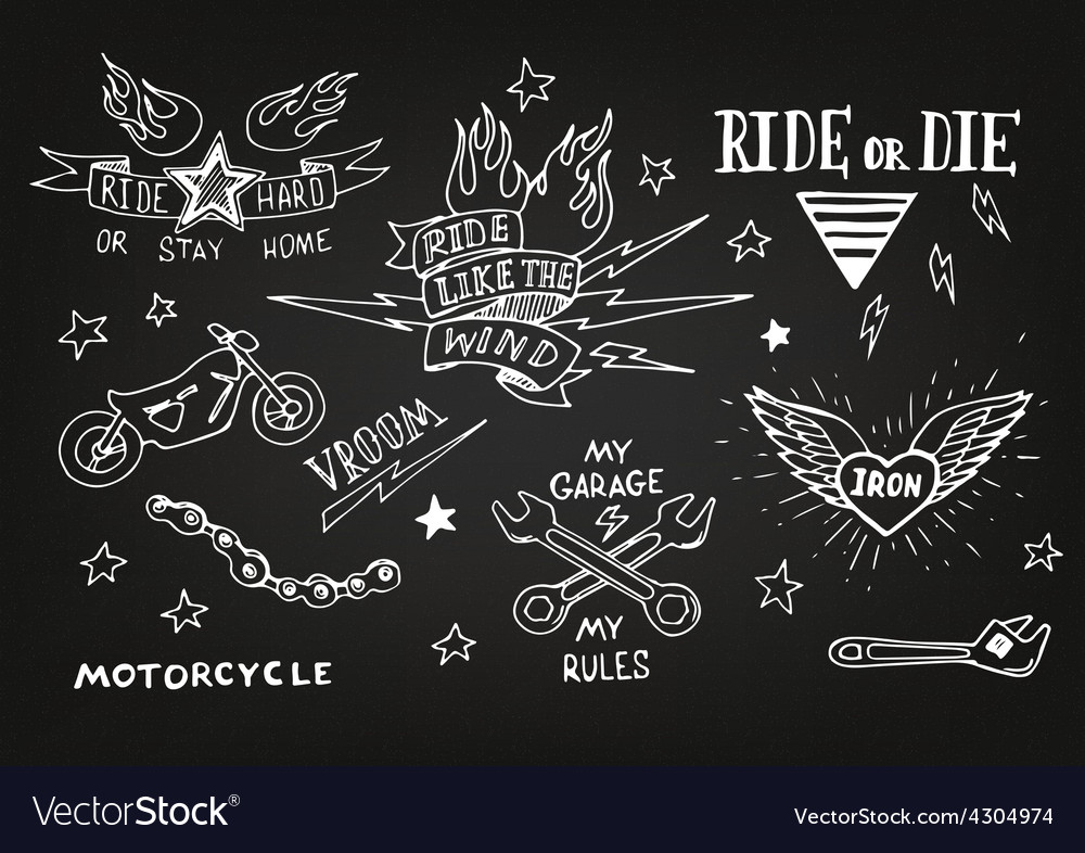 Traditional tattoo biker set vector | Price: 1 Credit (USD $1)