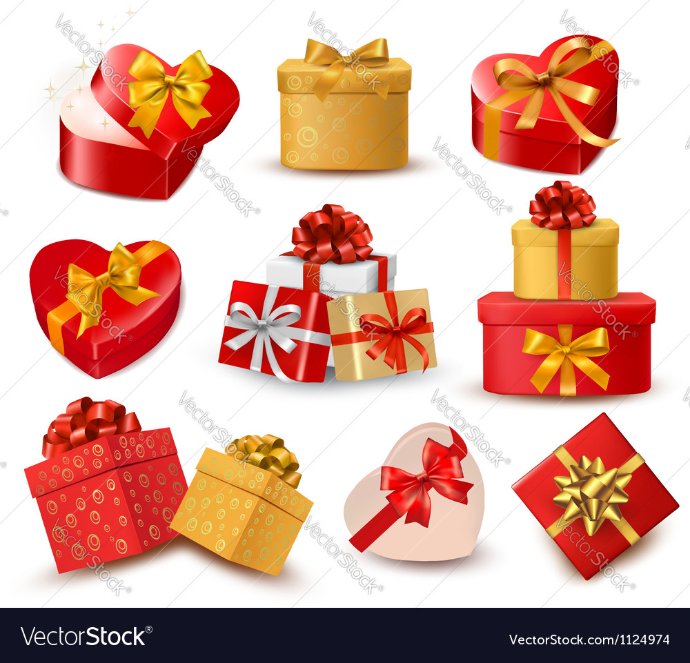 Valentine background with two red hearts and gift vector | Price: 1 Credit (USD $1)
