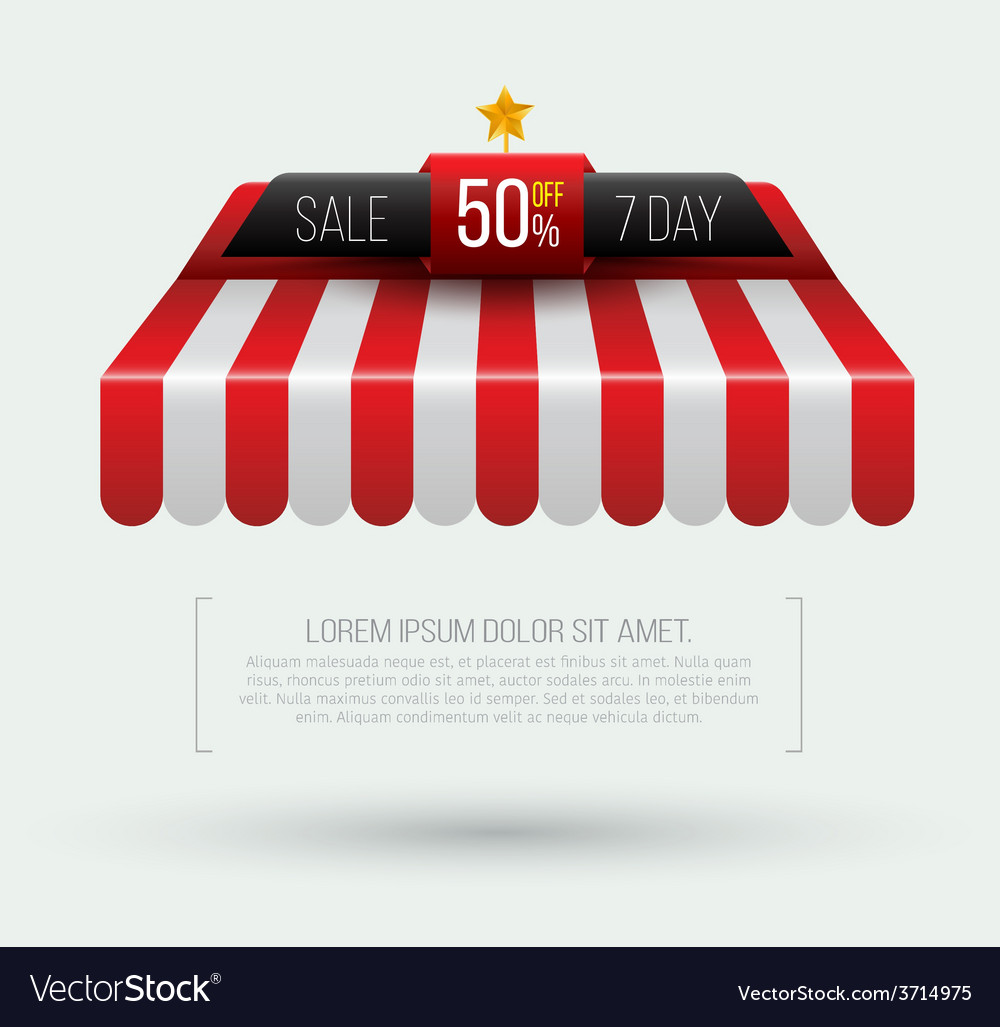 Awning seven day sale banner roof vector | Price: 1 Credit (USD $1)