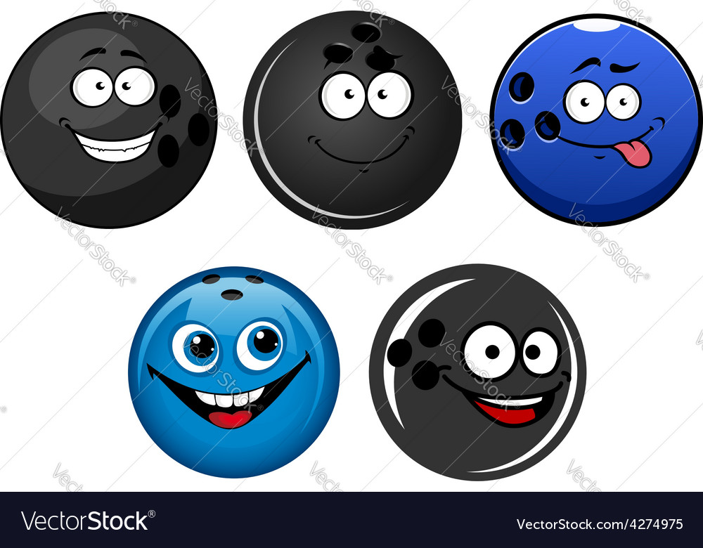Blue and black bowling balls cartoon characters vector | Price: 1 Credit (USD $1)