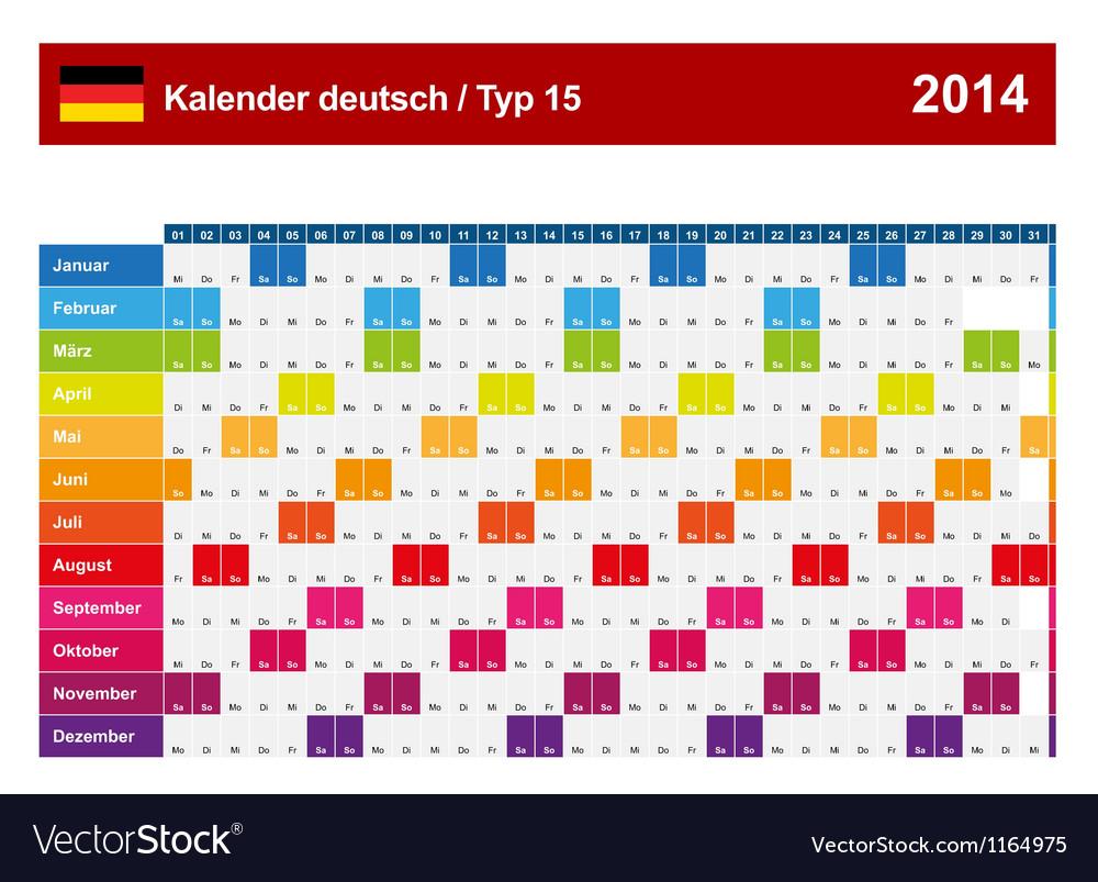 Calendar 2014 german type 15 vector | Price: 1 Credit (USD $1)