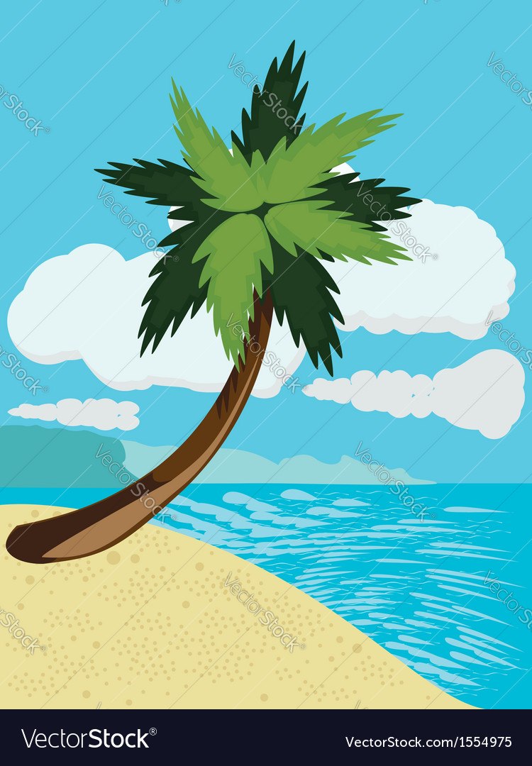 Cartoon beach with palm vector | Price: 1 Credit (USD $1)