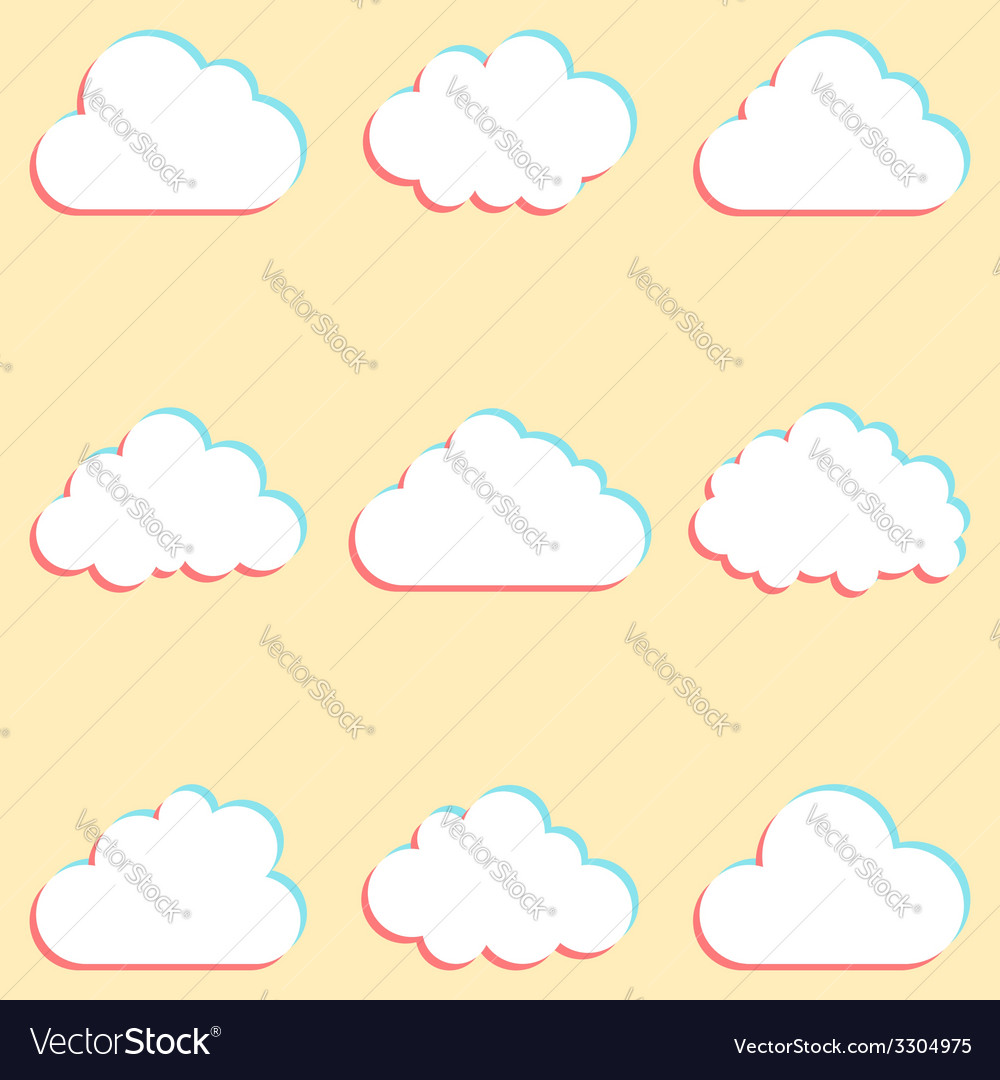 Clouds set with colored edges and icons for cloud vector | Price: 1 Credit (USD $1)