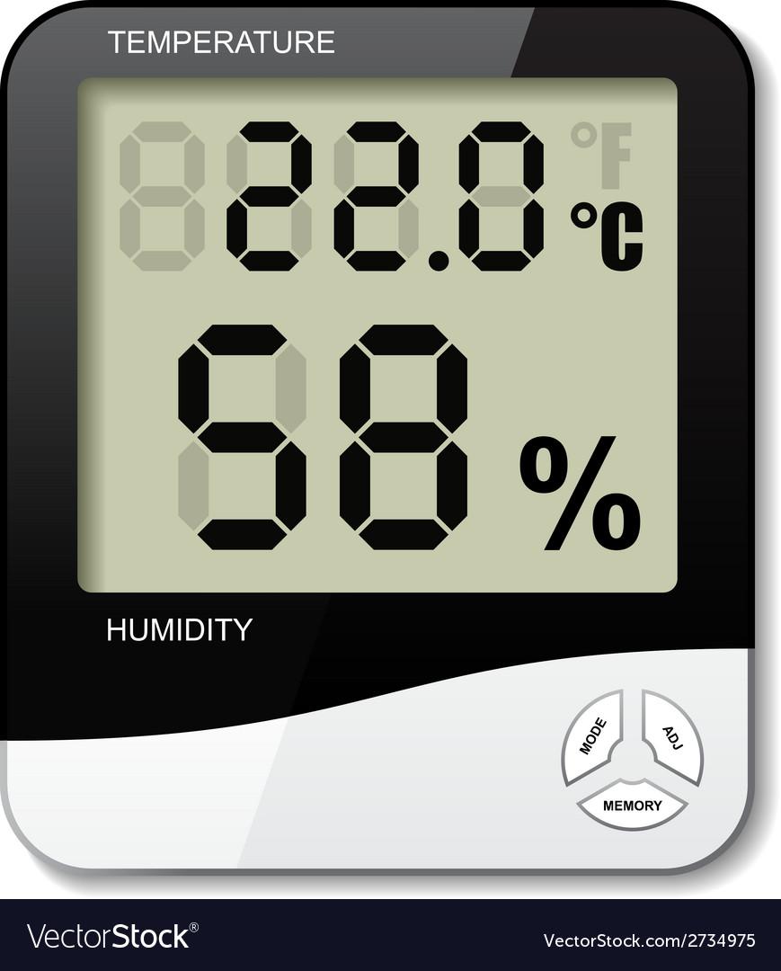 Digital thermometer hygrometer humidity icon vector   Price: 1 Credit (USD $1)