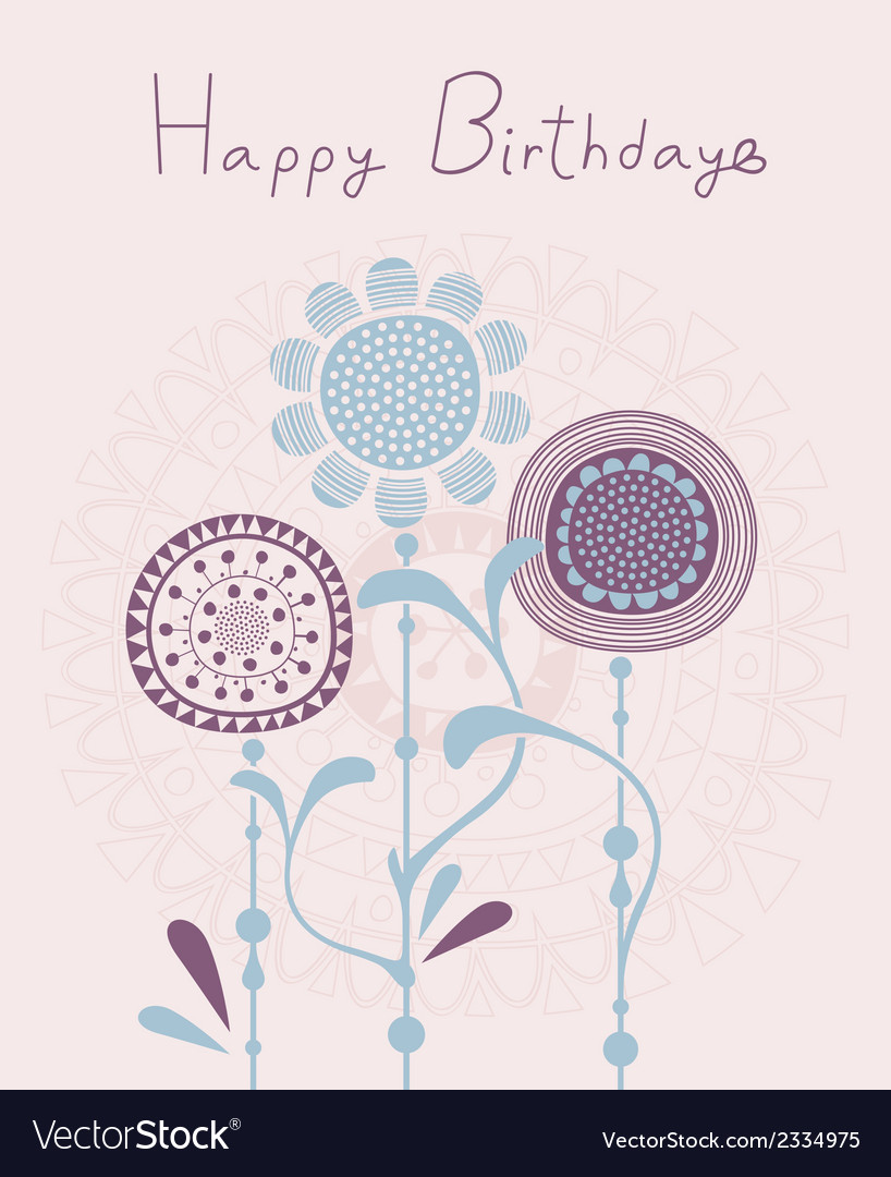 Floral birthday background vector | Price: 1 Credit (USD $1)