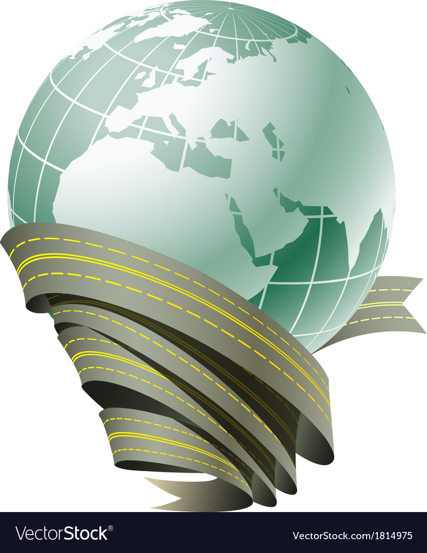 Globe surrounded by roads vector | Price: 1 Credit (USD $1)