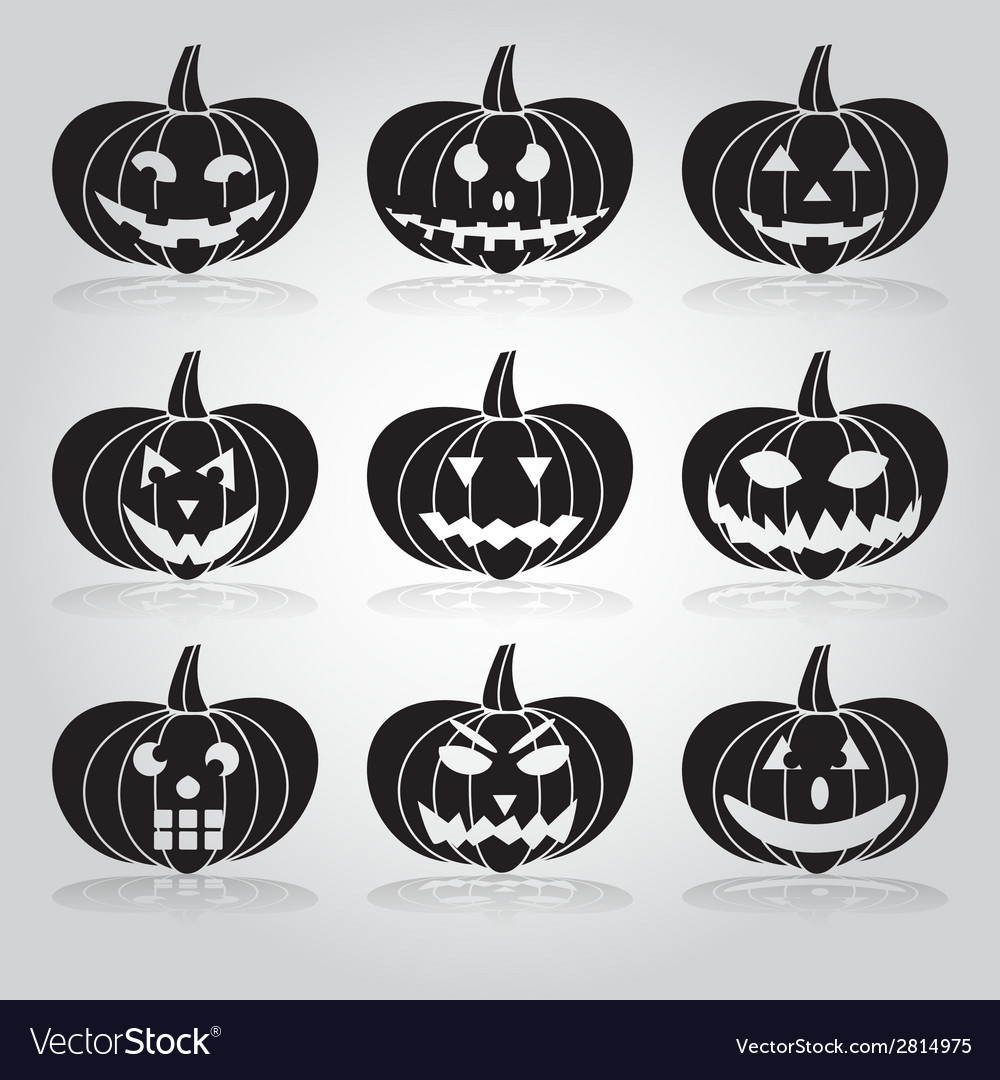 Halloween carved pumpkins set eps10 vector | Price: 1 Credit (USD $1)