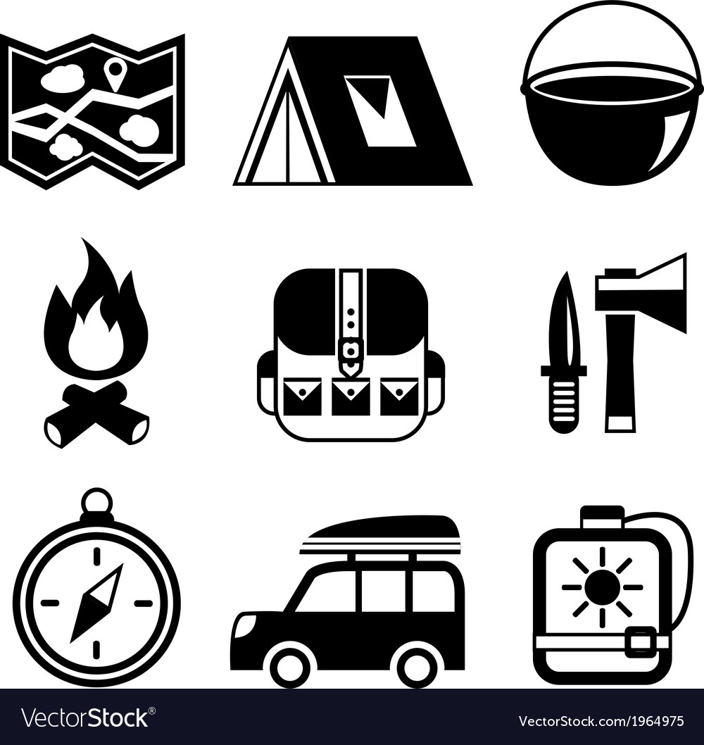Outdoors tourism camping flat pictograms set vector | Price: 1 Credit (USD $1)