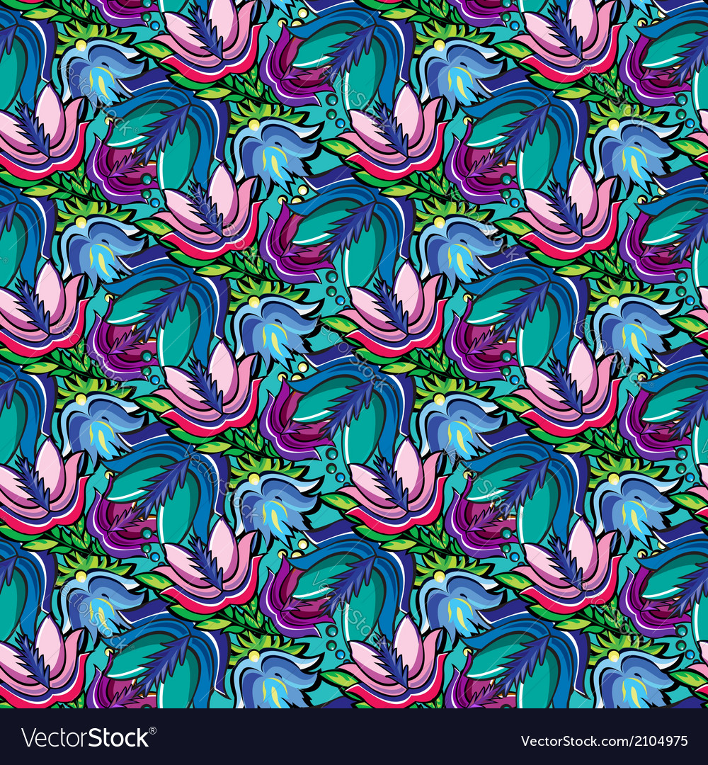 Seamless cartoon hand-drawn pattern with flowers vector | Price: 1 Credit (USD $1)