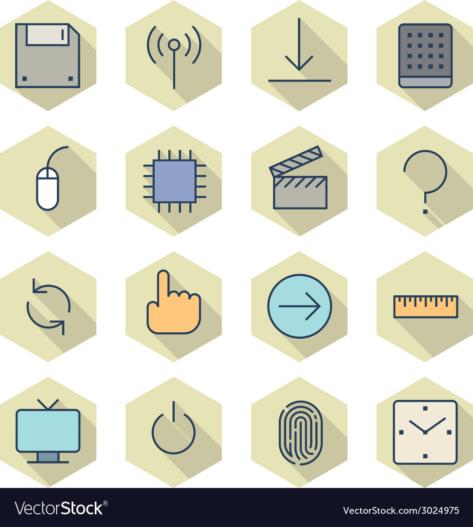 Thin line icons for interface vector | Price: 1 Credit (USD $1)