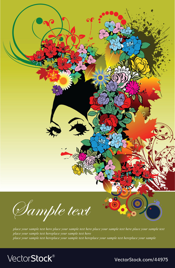 Woman face with flower vector | Price: 1 Credit (USD $1)