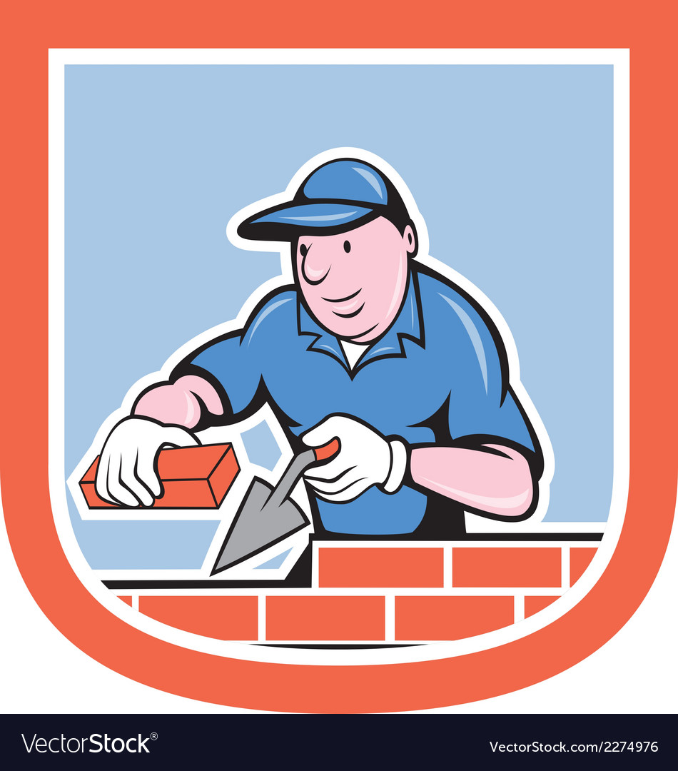 Bricklayer mason plasterer worker cartoon vector | Price: 1 Credit (USD $1)
