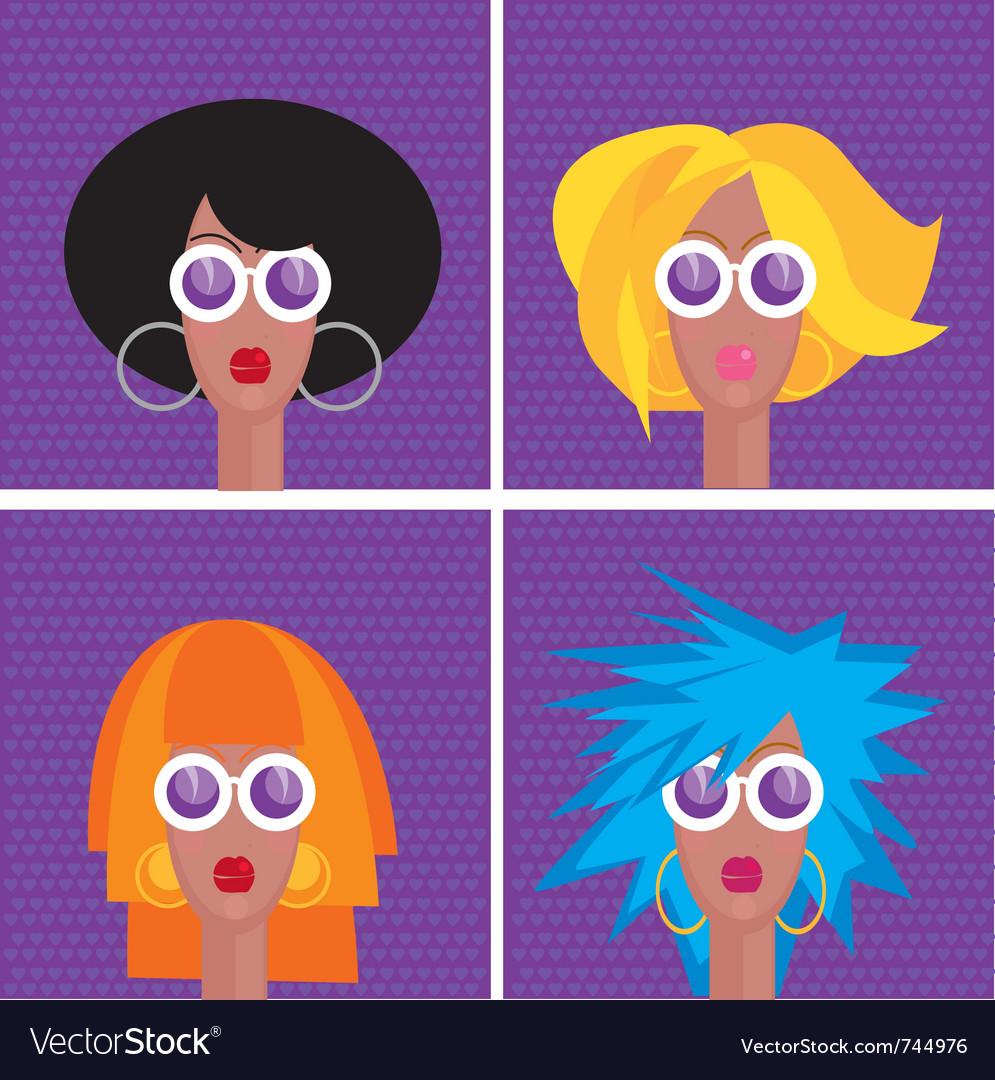 Diva faces vector | Price: 1 Credit (USD $1)