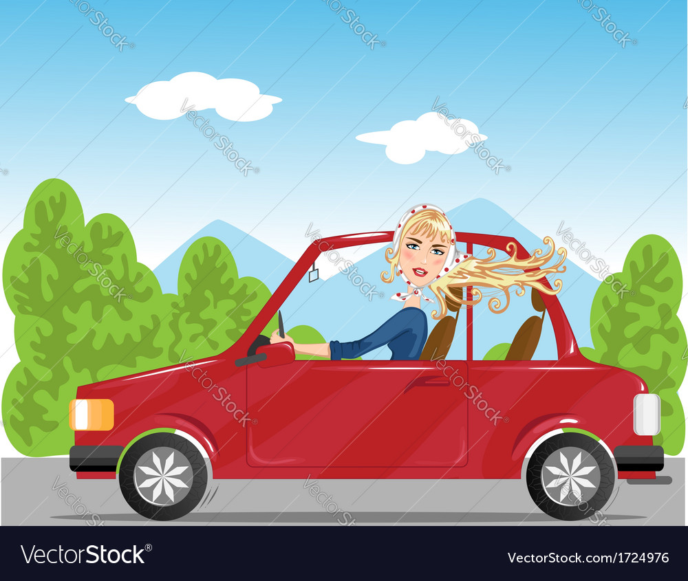 Girl in read auto vector | Price: 1 Credit (USD $1)
