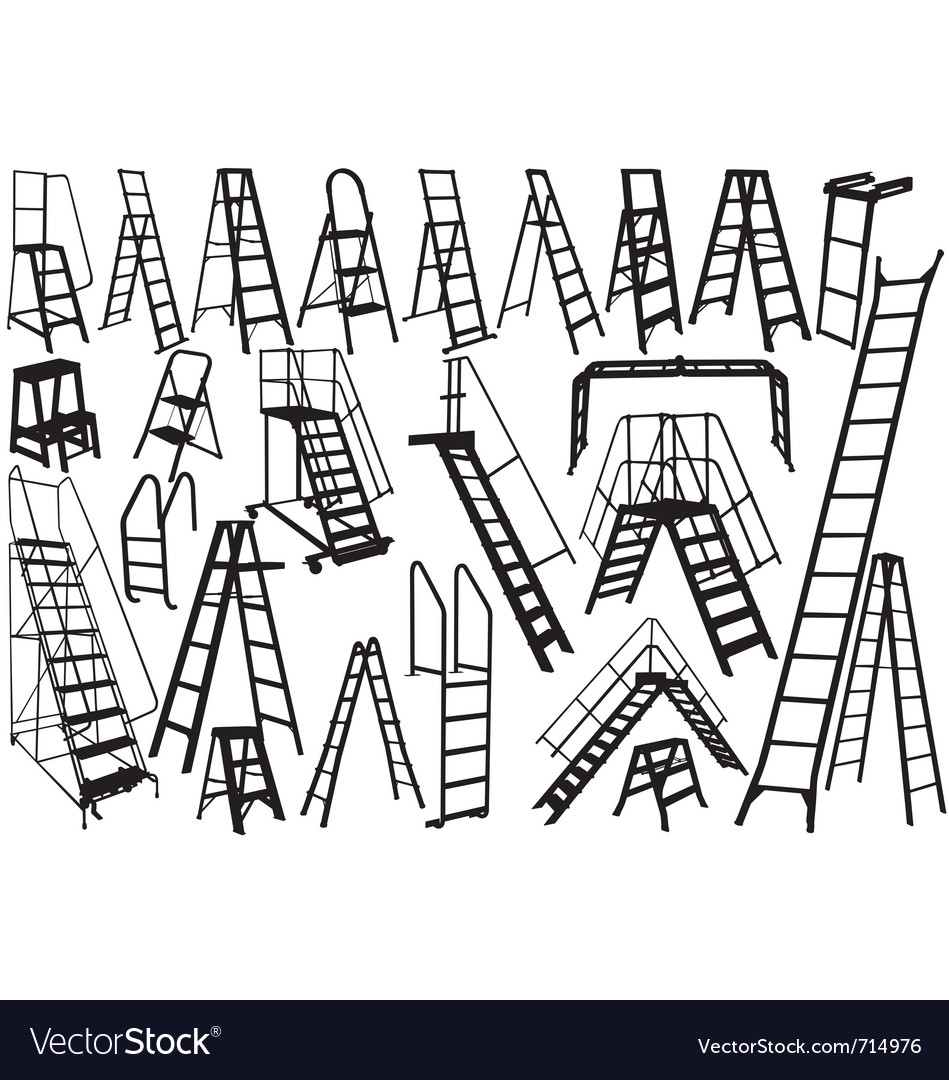 Ladder silhouettes vector   Price: 1 Credit (USD $1)