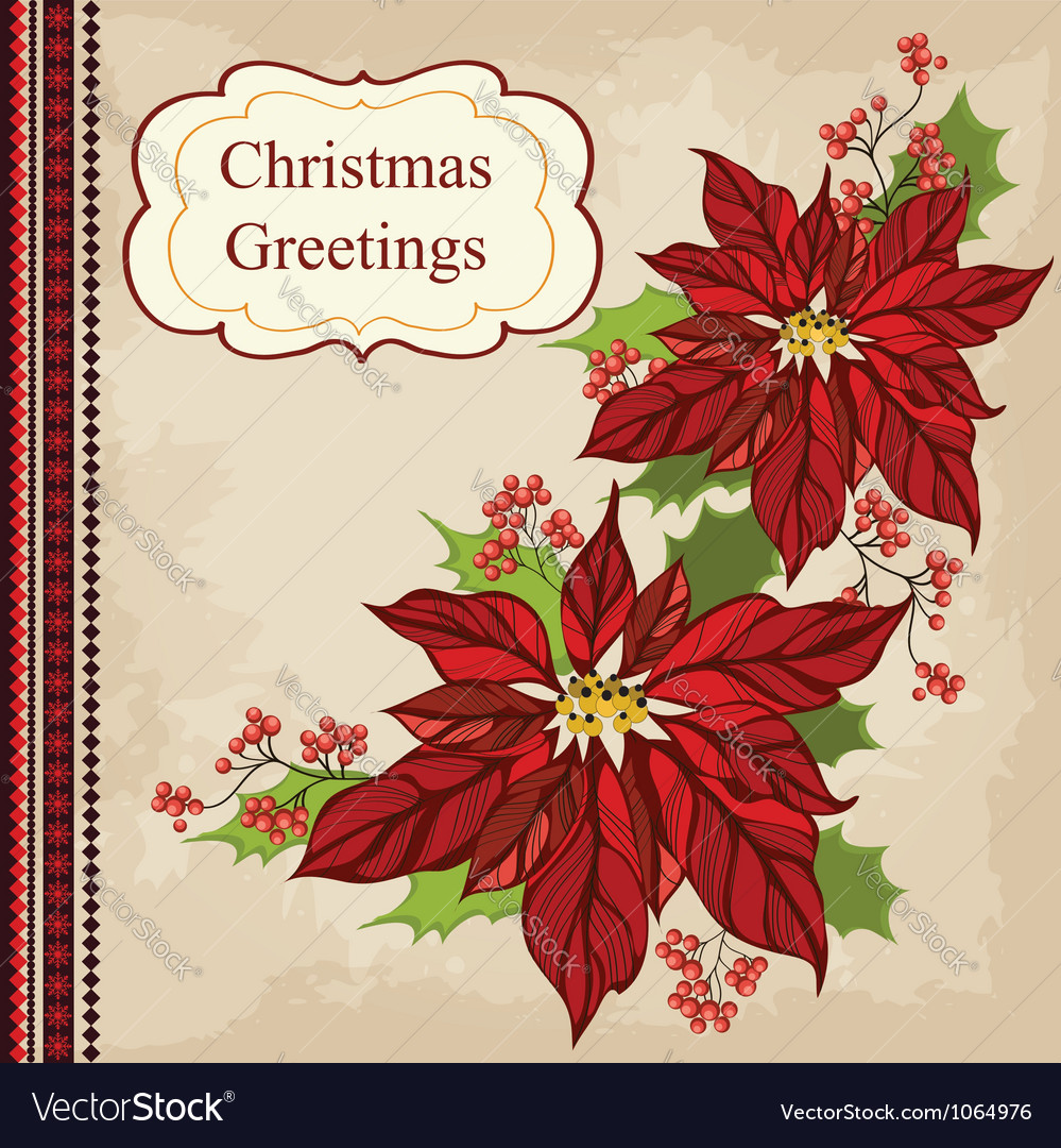 Retro christmas greeting card with flower vector | Price: 1 Credit (USD $1)