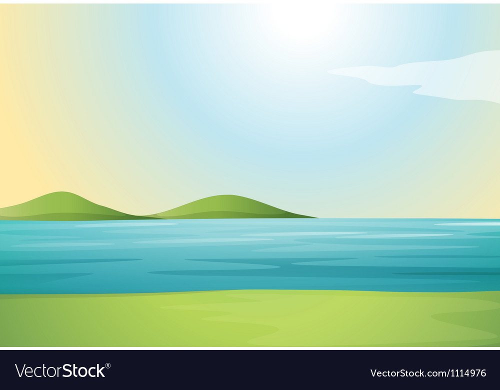 River and hills vector | Price: 1 Credit (USD $1)