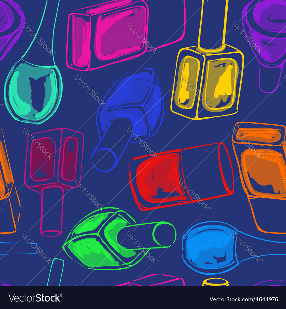 Seamless pattern of nail polish bottles vector | Price: 1 Credit (USD $1)
