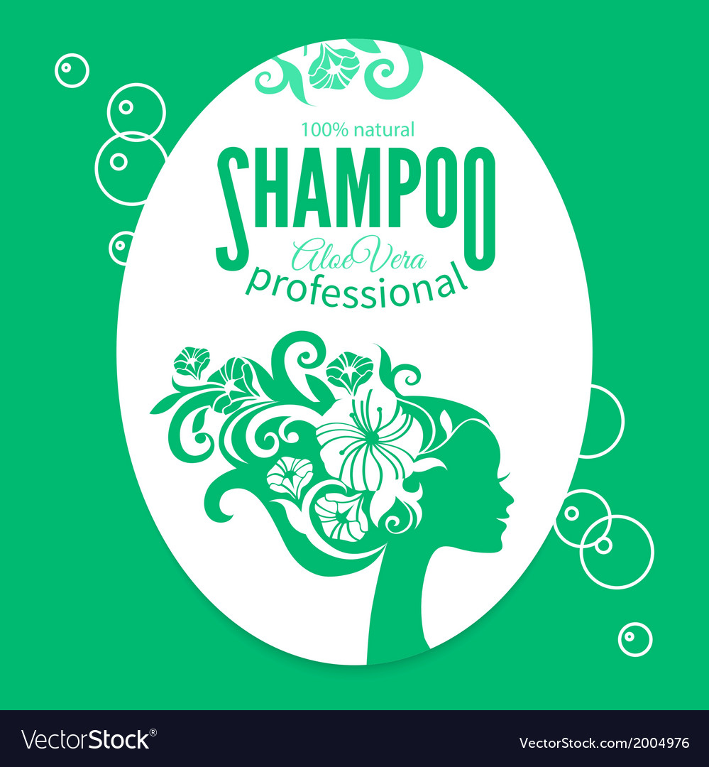 Shampoo women label vector | Price: 1 Credit (USD $1)