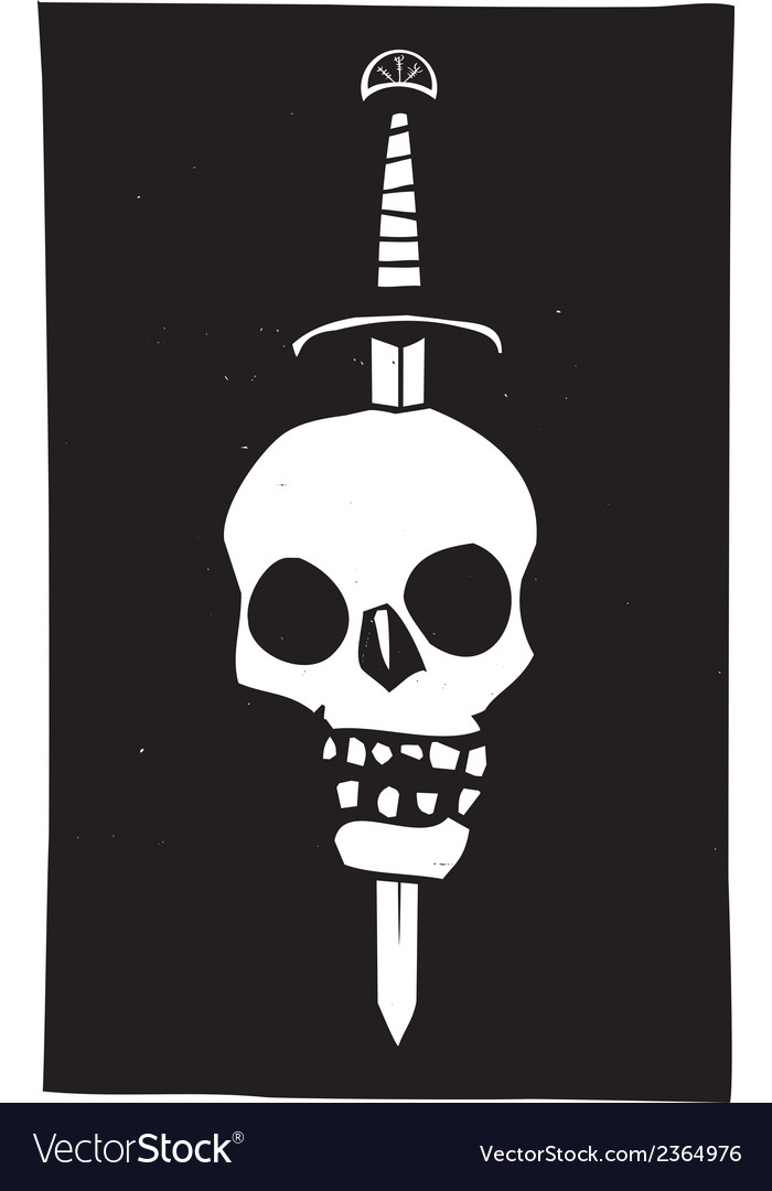 Skull impaled on a sword dark vector | Price: 1 Credit (USD $1)