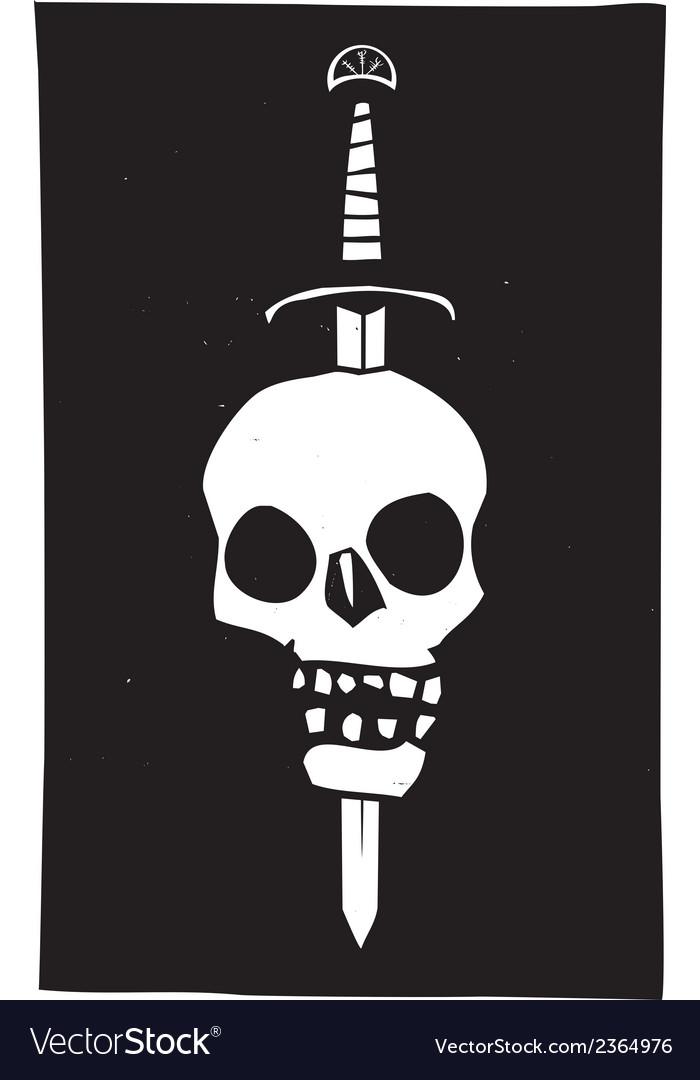 Skull impaled on a sword dark vector
