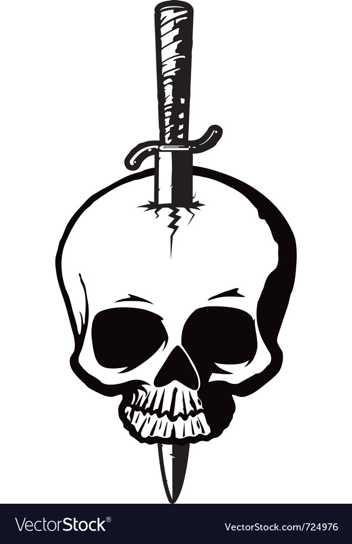 Skull with dagger vector | Price: 1 Credit (USD $1)