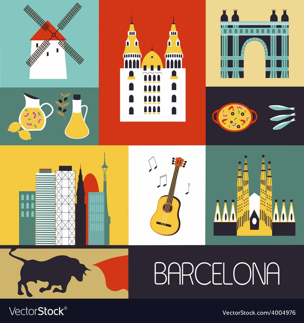 Symbols of barcelona vector | Price: 1 Credit (USD $1)