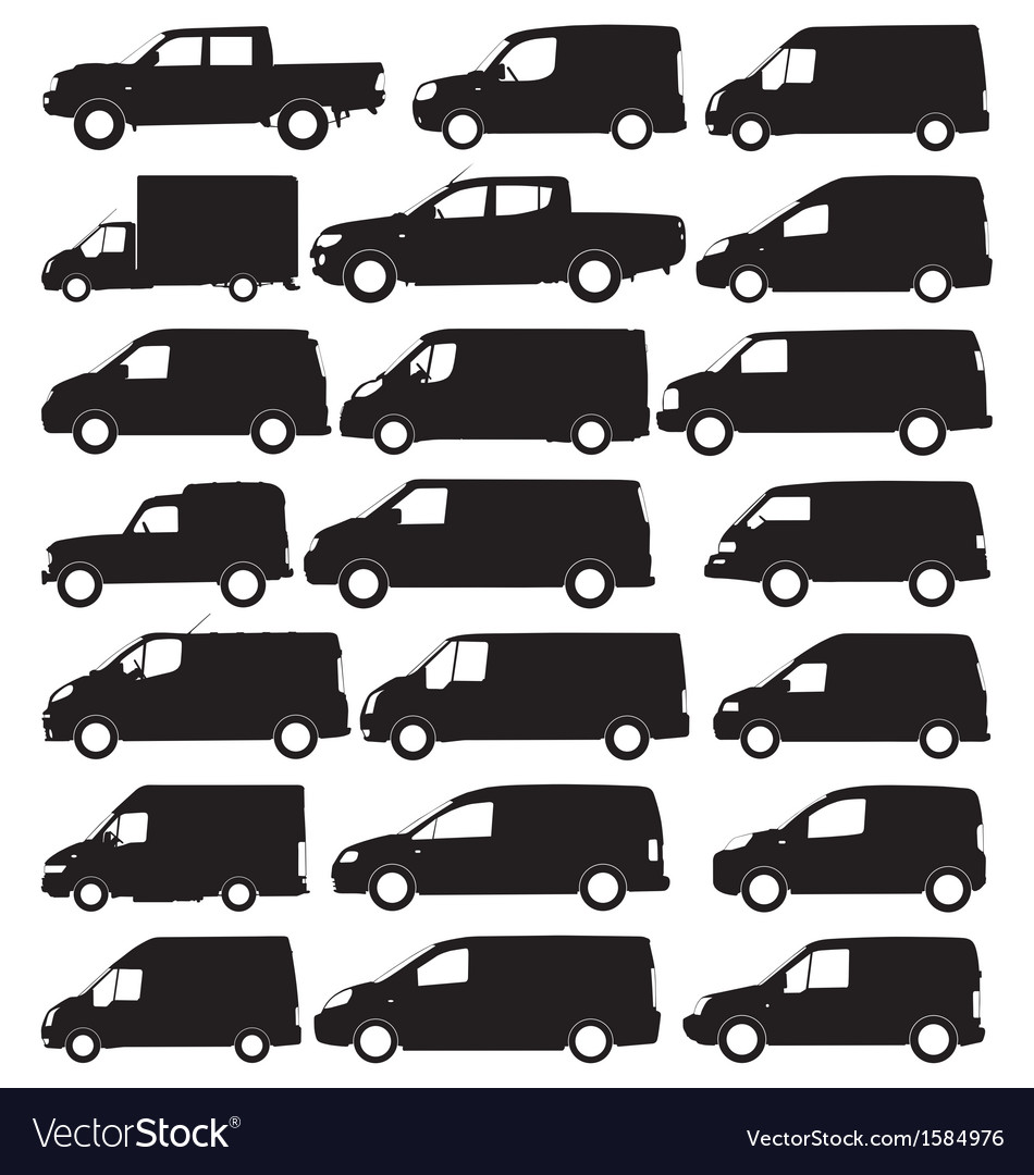 Van and pickup silhouettes vector | Price: 1 Credit (USD $1)