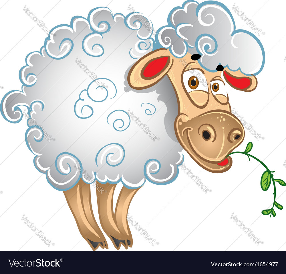 Bright sheep with blade of grass vector | Price: 1 Credit (USD $1)