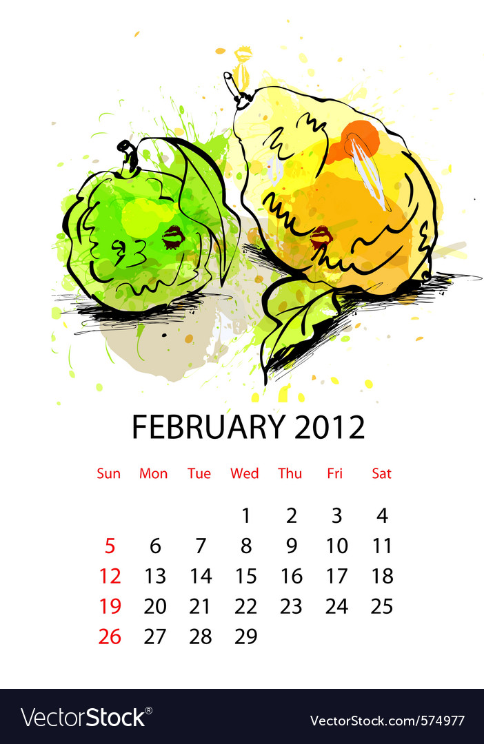 Calendar for 2012 with fruit february vector | Price: 1 Credit (USD $1)