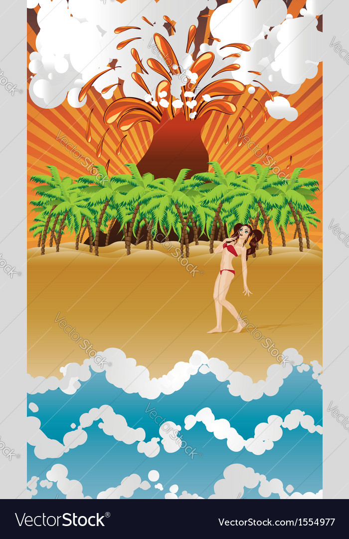Cartoon volcano island and girl vector | Price: 1 Credit (USD $1)