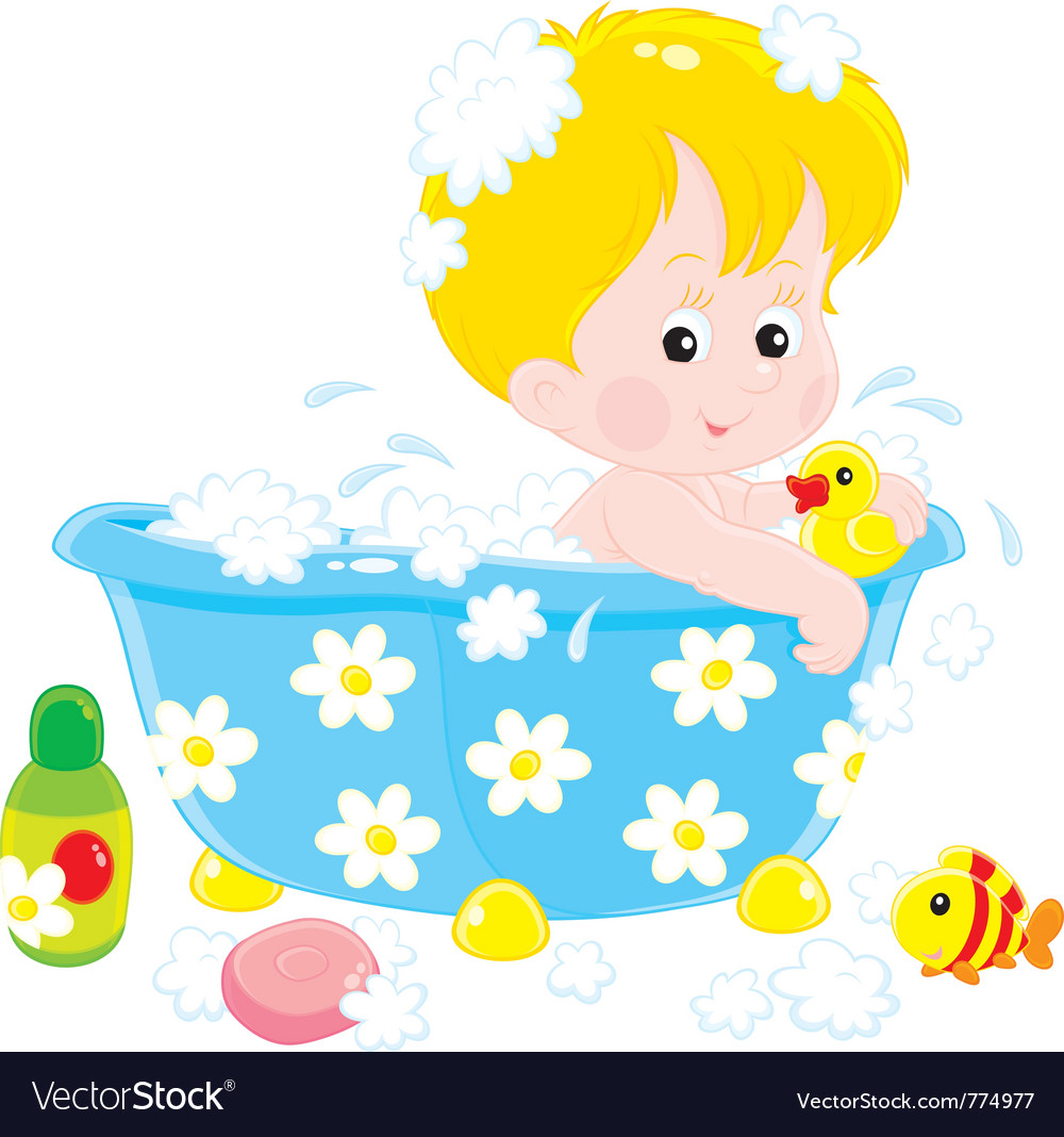 Child bathing with toys vector | Price: 3 Credit (USD $3)