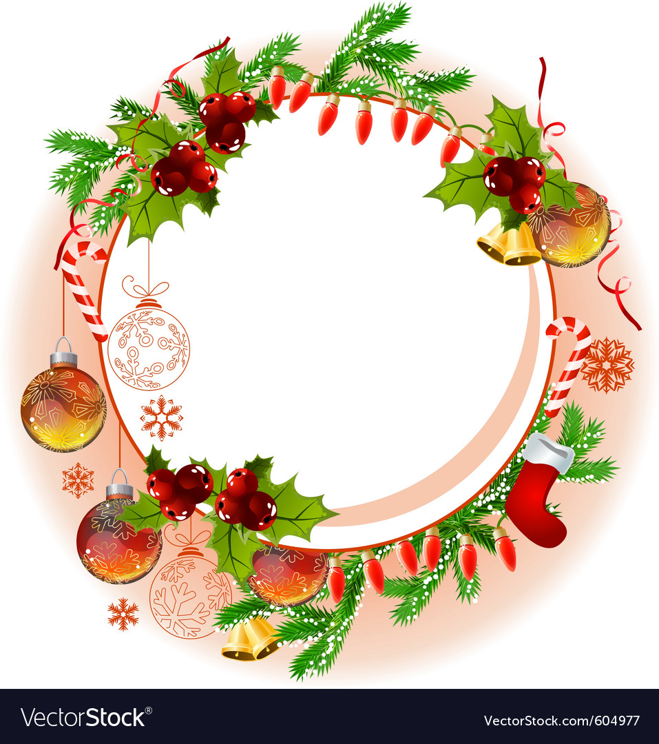 Christmas frame with balls and fir branches vector | Price: 1 Credit (USD $1)