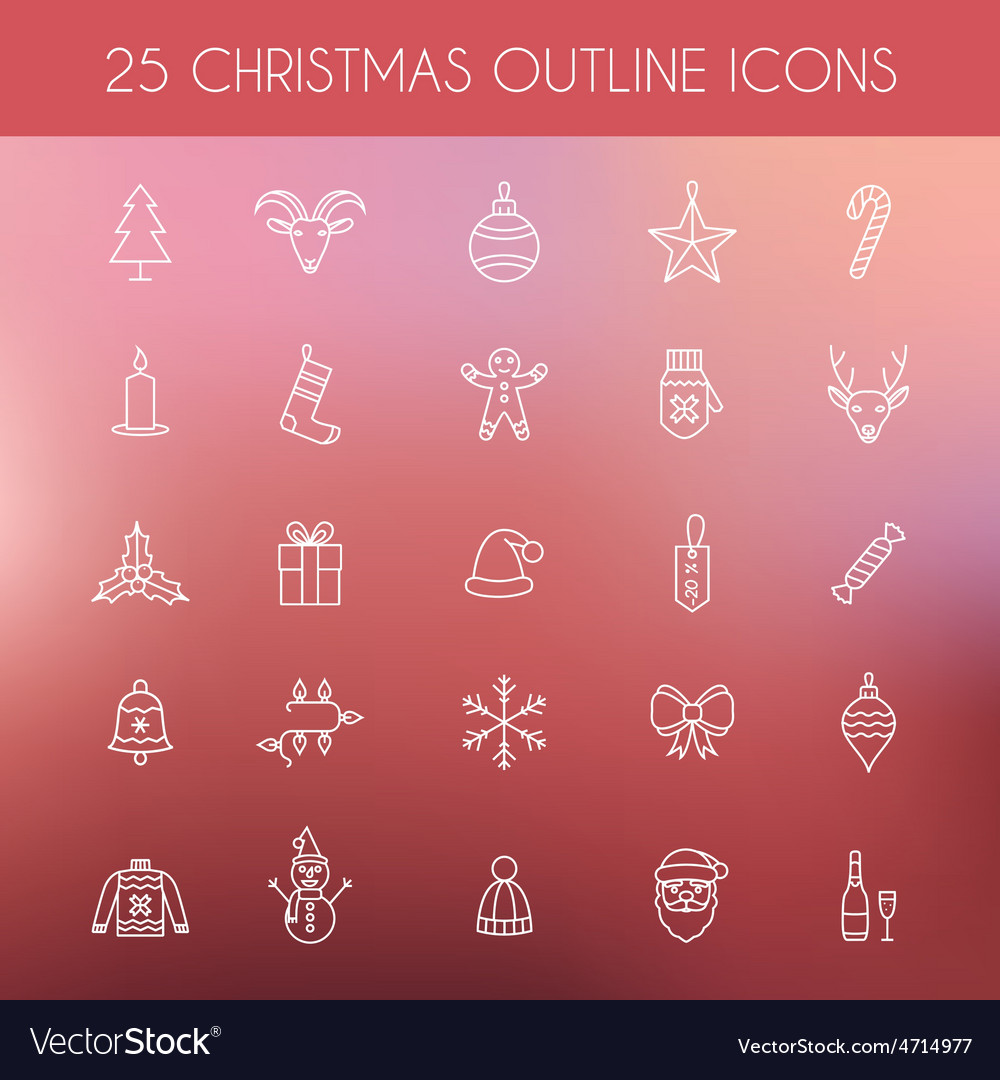 Christmas outline icons holiday new year icons vector | Price: 1 Credit (USD $1)