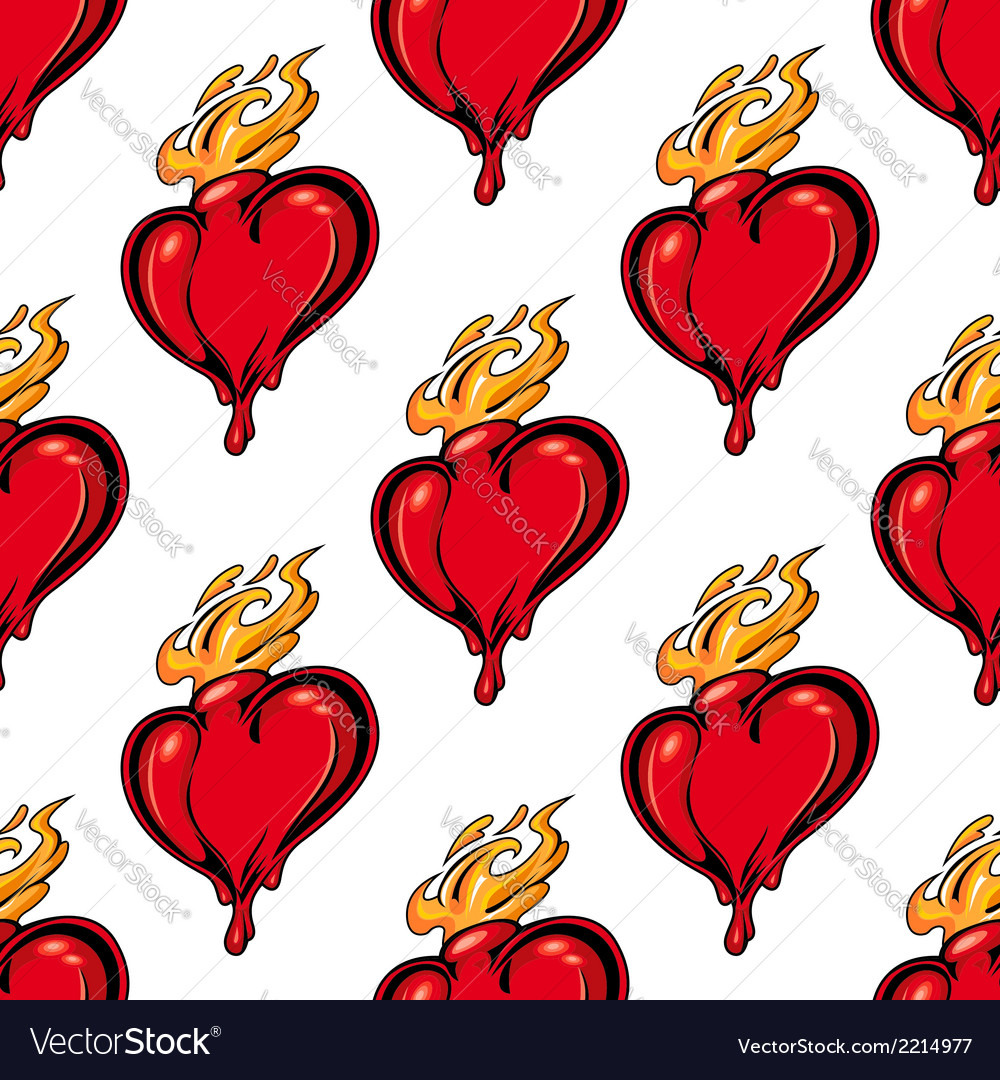 Flaming red heart seamless pattern vector | Price: 1 Credit (USD $1)